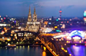 Фото Германия Мосты Кёльн Собор Сверху Cathedral Kölner Dom