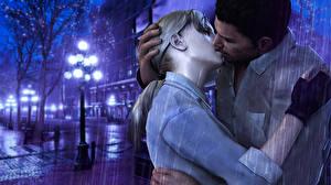 Картинка Resident Evil Мужчина Любовники Дождь Поцелуй Улице Уличные фонари Два компьютерная игра 3D_Графика Девушки