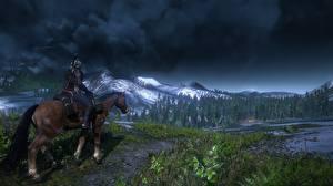 Картинка Ведьмак Ведьмак 3: Дикая Охота Лошади Горы Дым Игры 3D_Графика Природа