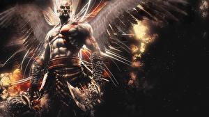 Картинки God of War Мужчины Ангелы Воин Крылья Цепи Игры