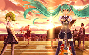 Картинка Vocaloid Небо Hatsune Miku Рояль Гитары Аниме Девушки