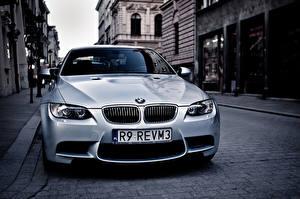 Фотография BMW Белый Спереди Улица E92 m3 Автомобили