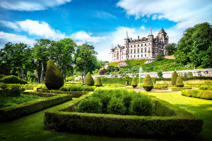 Обои Шотландия Замки Ландшафт Кусты Дизайн Dunrobin Города фото