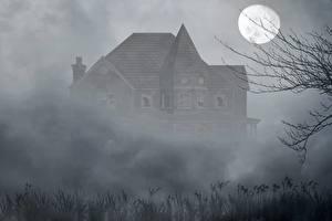 Обои Готика Фэнтези Дома Тумане Луна Старый Фэнтези