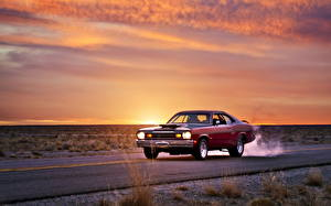 Фото Плимут Небо Дороги Рассветы и закаты duster