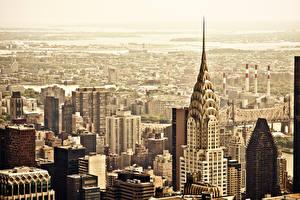 Фотография США Дома Небоскребы Нью-Йорк Сверху Мегаполис Manhattan Chrysler Building город