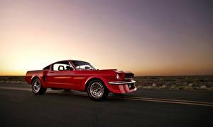 Картинка Ford Дороги Красный Сбоку Mustang Машины