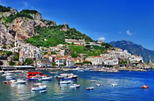 Обои Италия Побережье Горы Амальфи Города