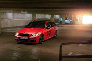 Фото BMW Красный Парковка 2013 330d Автомобили