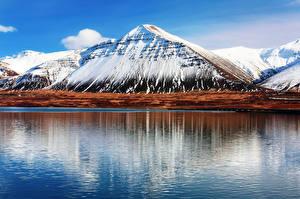 Фото Горы Пейзаж Исландия Вода Hafnarfjall Природа