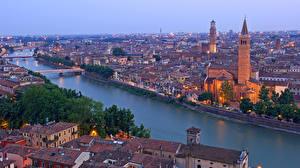 Картинки Италия Верона Водный канал Сверху Santa Anastasia church Torre dei Lamberti Adige