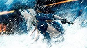 Картинка Запрещенный прием Эмили Браунинг Снеге Снежинка С саблей Девушки Знаменитости