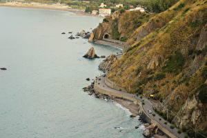 Фотография Берег Италия Дороги Море Сверху Sicilia Capo d Orlando by Andrei Antipin Природа