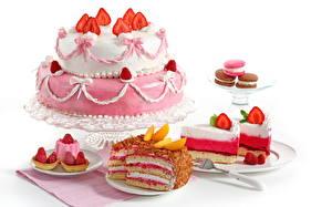 Обои Сладкая еда Пирожное Клубника Торты Белом фоне Продукты питания