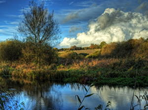Фотографии Река Англия Облако HDRI River Itchen Avington Природа