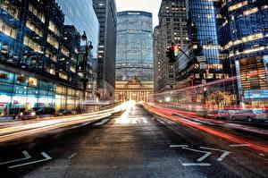 Фотографии США Здания Дороги Улица Нью-Йорк Асфальта Grand Central Terminal Midtown Manhattan город