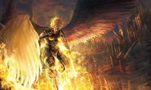 Фотографии Ангел Воины Мужчина Фантастический мир Крылья Броне Меч Фантастика