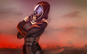 Картинки Mass Effect Tali Zorah Шлем Игры Девушки Фэнтези