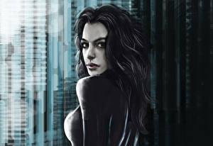 Обои Бэтмен Anne Hathaway Рисованные Женщина-кошка герой кино Девушки Знаменитости