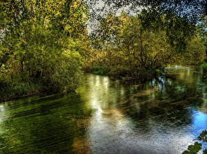 Фото Река Англия HDR Itchen Hampshire Природа