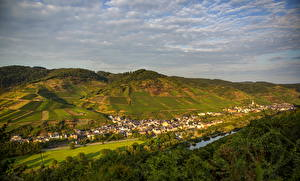 Фото Германия Поля Городки Эдигер-Эллер Сверху Облака Города