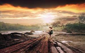 Фотография Дороги Дождь Грязный Облака Тучи Природа Девушки