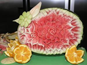 Картинки Натюрморт Арбузы Апельсин Оригинальные Пища Цветы