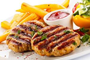 Фото Мясные продукты Быстрое питание Картофель фри Кетчуп