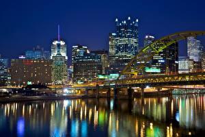 Фотографии Штаты Берег Дома Мосты Питтсбург Ночью Пенсильвания Города