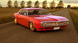 Фото Понтиак Ретро Дороги Красный FireBird 1968 Авто