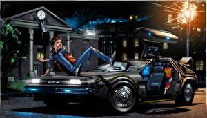Обои Назад в будущее Рисованные Парни Ночь Автомобили Фэнтези