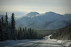 Фотография Горы Дороги Леса Зима Природа