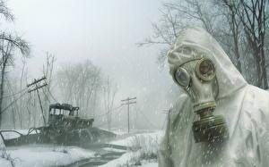 Фотографии STALKER Зима Противогаз Снег Снежинки Игры