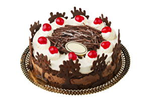 Фото Сладкая еда Торты Шоколад Белый фон Пища
