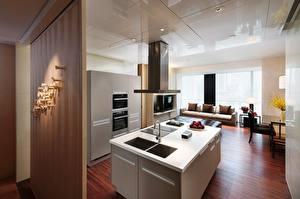 Обои Интерьер Кухня Стол Хай-тек стиль Потолок