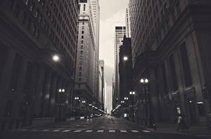 Фото США Дома Дороги Небоскребы Улица Чикаго город Уличные фонари Города