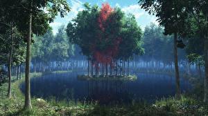 Фотографии Леса Остров Озеро Деревья 3D_Графика