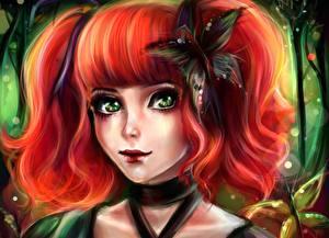 Картинка Рисованные Бабочки Рыжая Волос Лицо Смотрят Фантастика Девушки