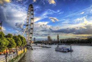 Фотографии Великобритания Англия Небо Лондон Облачно HDR Города