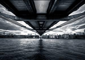 Фото Англия Мосты Реки Вода Великобритания Побережье Millennium thames Города