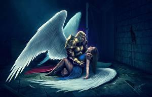 Фотографии Ангелы Мужчины Крылья Доспехи Двое Фантастика Девушки