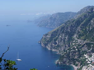 Картинка Побережье Гора Италия Море Амальфи Сверху Природа