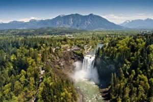 Обои Водопады США Горы Леса Пейзаж Сверху Snoqualmie Природа фото