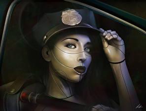Фото Техника Фэнтези Робот Полицейские Шляпа Лицо Смотрит Фантастика Девушки