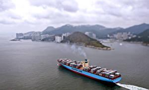 Фото Корабли Контейнеровоз Побережье Сверху Maersk Line