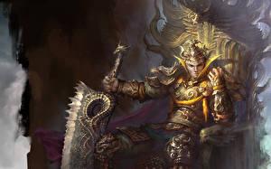 Картинка Воин Мужчина Меча Доспехи Сидит Трона Фантастика