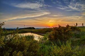 Картинка Пейзаж Германия Небо Рассветы и закаты Эдигер-Эллер Природа