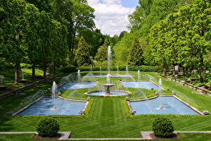 Обои Парки США Фонтаны Ландшафт Дизайн Газон Kennett Square Longwood Природа фото
