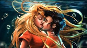 Фотография Любовь Подводный мир Любовники Поцелуй Волосы Блондинка Юноша Фантастика Девушки