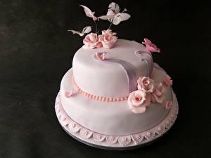 Картинки Сладкая еда Торты Розы Розовый Еда